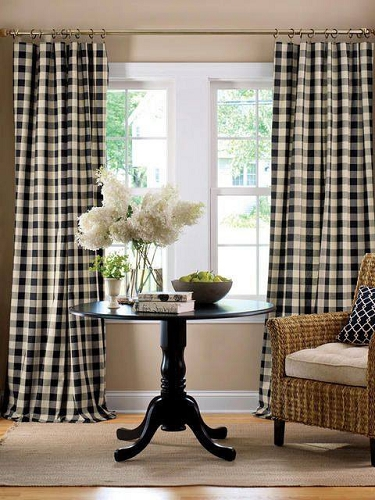 Premier Prints Anderson Buffalo Check Black Linen Fabric