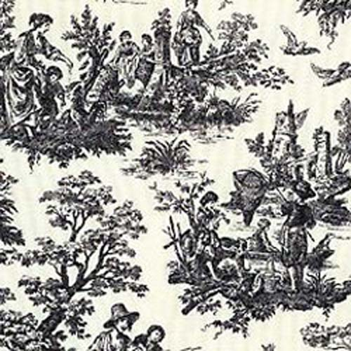 Black And White Toile Rug: Waverly Country Life Black Toile Home Decorating Fabric