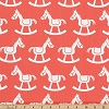 Premier Prints Rocking Horse Coral White