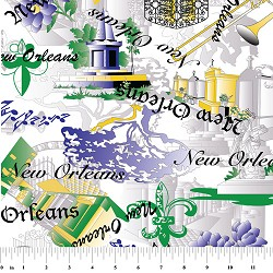 New Orleans Cemetery Fabric: Purple, Green and Yellow