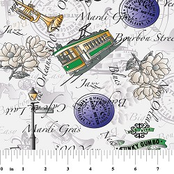 New Orleans 300th Anniversary Fabric: Purple, Green & Yellow