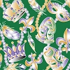 New Orleans Mardi Gras Mask Fabric: Beads & Feathers Green 2270