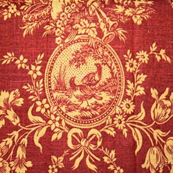 Country House Rouge Red Gold Toile