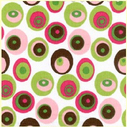 Pink Green Brown Dot Twill
