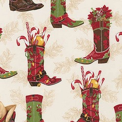 REMNANT Robert Kaufman Holly Jolly Christmas Cowboy Boots Cream