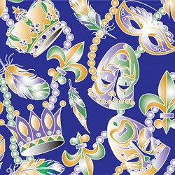 New Orleans Mardi Gras Mask Fabric: Beads & Feathers Purple 2271